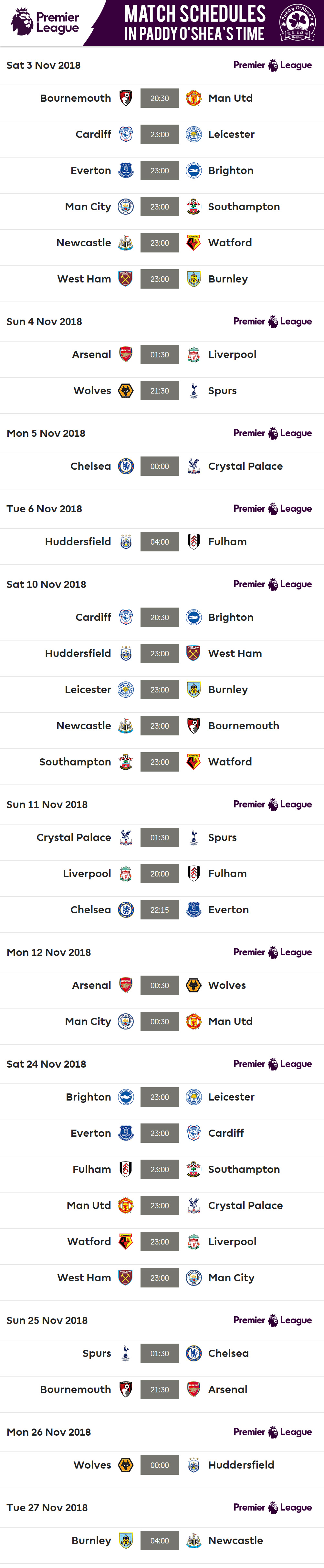Premier League 2018-19Full Schedule in Paddy's time – Paddy
